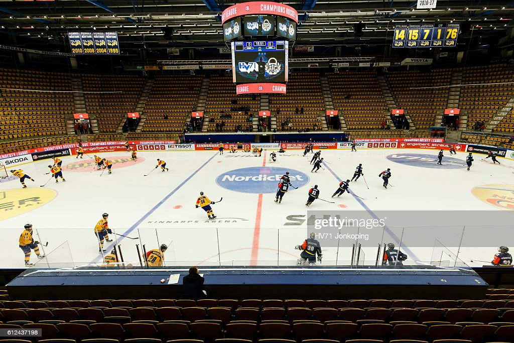 Players from both teams warm up before the Champions Hockey League Round of 32 match between HV71 Jonkoping and Lukko Rauma at Kinnarps Arena on October 4, 2016 in Jonkoping, Sweden.
