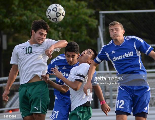 Players from both Walter Johhson and Churchill High School go up for a header during the game at Walter Johnson High School on Tuesday October 15...
