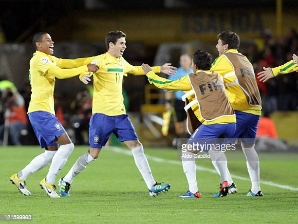 Players from Brazil celebrate their first goal during the FIFA U-20 World Cup 2011 final between Brazil and Portugal at Estadio Nemesio Camacho 'El...