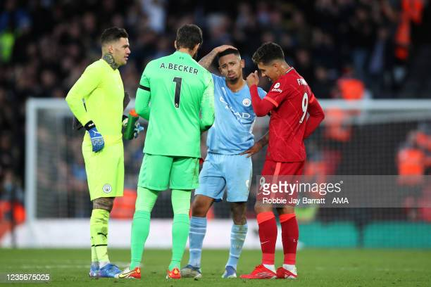 Players from Brazil, Ederson of Manchester City, Alisson Becker of Liverpool, Gabriel Jesus of Manchester City and Roberto Firmino of Liverpool...