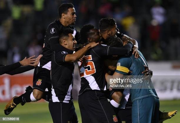 Players from Brazil Vasco Da Gama celebrate after winning on penalties and qualify to the group stage against Wilstermann of Bolivia during a match...
