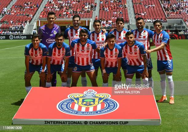 Players from Chivas de Guadalajara pose for a team shot before their 2019 International Champions Cup match against Benfica at the Levi's Stadium in...