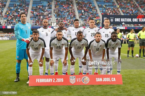 Players from Costa Rica pose for a photo before their international friendly match against the United States at Avaya Stadium on February 2 2019 in...