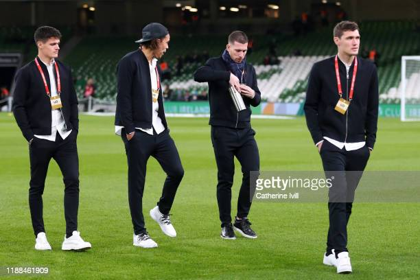 Players from Denmark inspect the pitch ahead of the UEFA Euro 2020 qualifier between Republic of Ireland and Denmark at Dublin Arena on November 18...