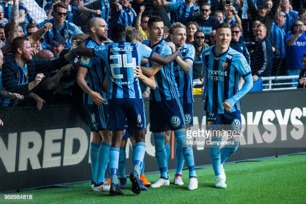 Players from Djurgardens IF celebrate scoring the opening goal during the Svenska Cupen Final between Djurgardens IF and Malmo FF at Tele2 Arena on...
