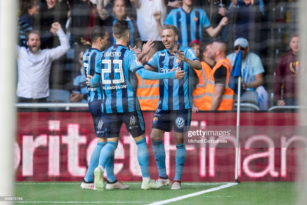 Players from Djurgardens IF celebrate the 3-0 goal during the Svenska Cupen Final between Djurgardens IF and Malmo FF at Tele2 Arena on May 10, 2018 in Stockholm, Sweden.
