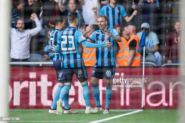 Players from Djurgardens IF celebrate the 30 goal during the Svenska Cupen Final between Djurgardens IF and Malmo FF at Tele2 Arena on May 10 2018 in...
