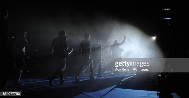 Players from East Grinstead and Reading enter the arena for the Maxifuel Super Sixes Finals at Wembley Arena London