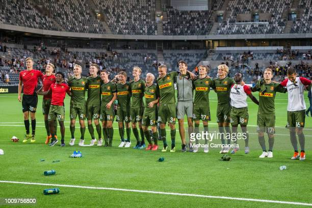 Players from FC Nordsjaelland thank their away visiting supporters after a UEFA Europa League second qualifying round match between AIK and FC...