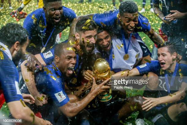 Players from France celebrate the 2018 World Cup title after a 4-2 win against Croatia at the Luzhniki Stadium in Moscow, Russia. France 4-2 win...