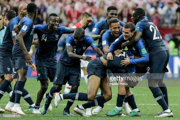 Players from France celebrate the 2018 World Cup title after a 42 win against Croatia at the Luzhniki Stadium in Moscow Russia France 42 win against...