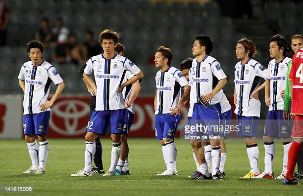 Players from Gamba Osaka react after the AFC Asian Champions League match between Gamba Osaka and Adelaide United at Hindmarsh Stadium on March 20...