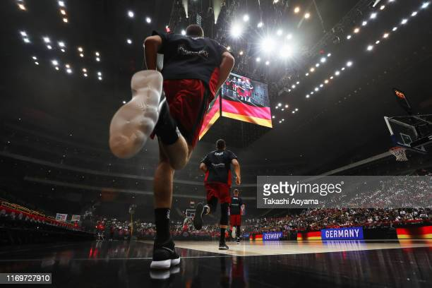 Players from Germany enter the court prior to the basketball international games between Germany and Tunisia at Saitama Super Arena on August 23,...