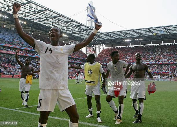 Players from Ghana celebrate their 02 victory after the FIFA World Cup Germany 2006 Group E match between Czech Republic and Ghana at the Stadium...