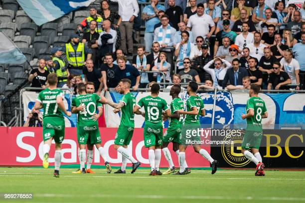 Players from Hammarby IF celebrate after Nikola Djurdjic scores the 11 equalizing goal during an Allsvenskan match between Hammarby IF and Malmo FF...