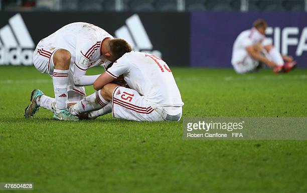 Players from Hungary are dejected after they were beaten in extra time by Serbia during the FIFA U20 World Cup New Zealand 2015 Round of 16 match...
