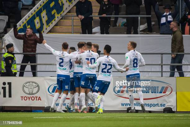Players from IFK Norrkoping celebrate scoring the opening 1-0 goal during an Allsvenskan match between IFK Norrkoping and Djurgardens IF at Nya...