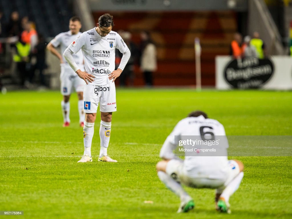 Players from IK Sirius show their dejection after losing 2-0 to AIK during an Allsvenskan match between AIK and IK Sirius at Friends Arena on April 27, 2018 in Solna, Sweden.