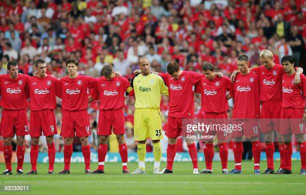 Players from Liverpool observe a one minutes silence in memory of the people who lost their lives in the London bombings before the UEFA Champions...