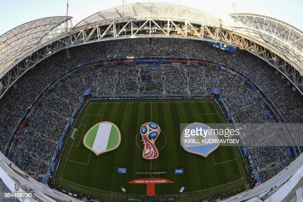 Players from Nigeria and Argentina line up before the Russia 2018 World Cup Group D football match between Nigeria and Argentina at the Saint...