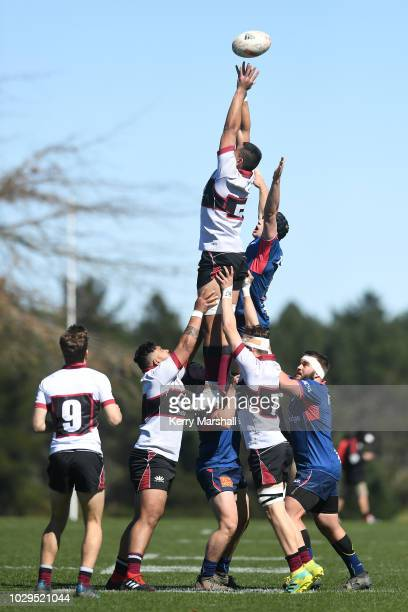 Players from North Harbour and Tasman contest a lineout during the Jock Hobbs Memorial National U19 Tournament on September 9 2018 in Taupo New...