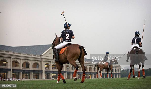 Players from Oxford ride during a match in the intervarsity tournament at the Tianjin Goldin Metropolitan Polo Club on July 16 2016 in Tianjin China...