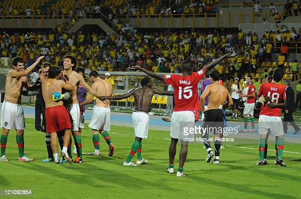 Players from Portugal celebrate the victory against Argentina after the match between Argentina and Portugal as part of the U20 World Cup Colombia...