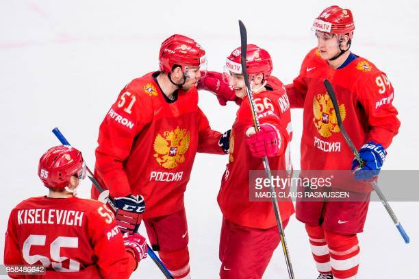 Players from Russia celebrates during the group A match Russia vs Slovakia of the 2018 IIHF Ice Hockey World Championship at the Royal Arena in...