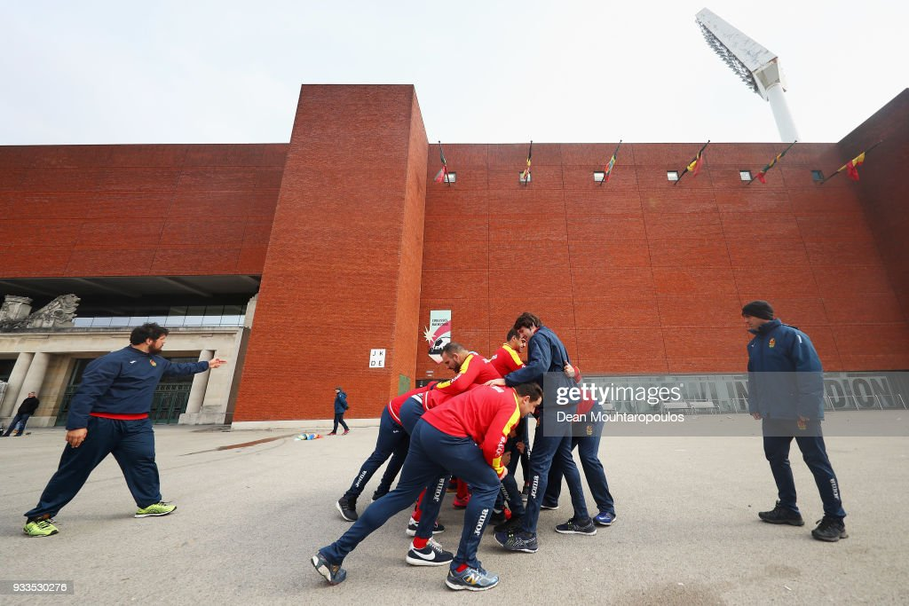 Players from Spain warm up prior to the Rugby World Cup 2019 Europe Qualifier match between Belgium and Spain held at Little Heysel next to King Baudouin Stadium on March 18, 2018 in Brussels, Belgium.