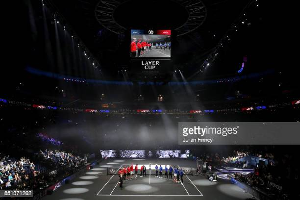 Players from Team Europe and Team World are greeted by Rod Laver as they enter the arena on the first day of the Laver Cup on September 22 2017 in...