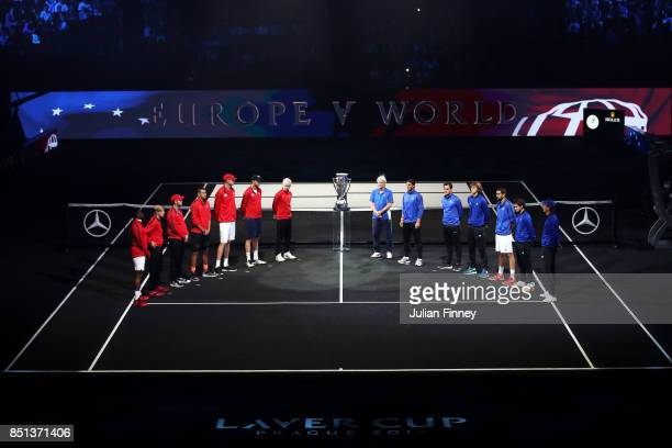 Players from Team Europe and Team World are led by Bjorn Borg Captain of Team Europe and John Mcenroe Captain of Team World as they enter the arena...