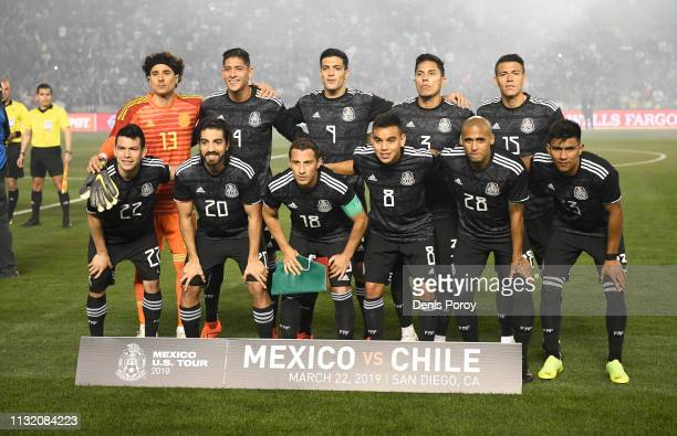 Players from team Mexico pose on the field before an International Friendly match between Mexico and Chile at SDCCU Stadium on March 22 2019 in San...