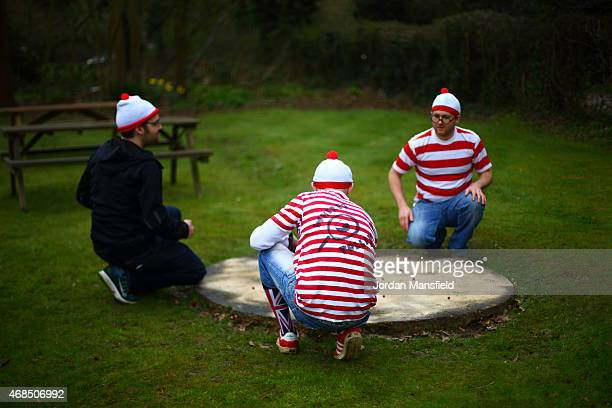 Players from team 'Where's Tolley' practice ahead of competing in the annual British and World Marbles Championships on April 3 2015 in Crawley West...