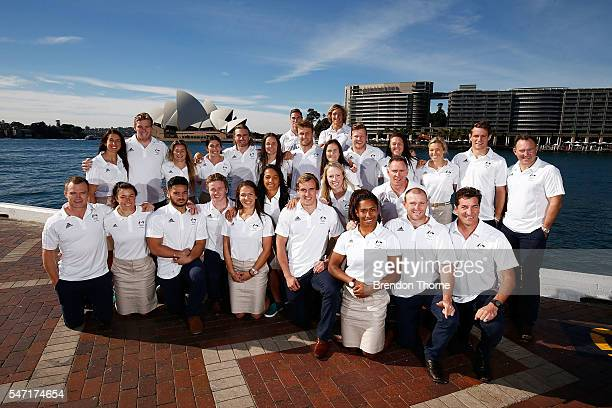 Players from the Australian Women's and Men's Sevens Rugby Teams pose during the Australian Olympic Games rugby sevens team announcement at Museum of...