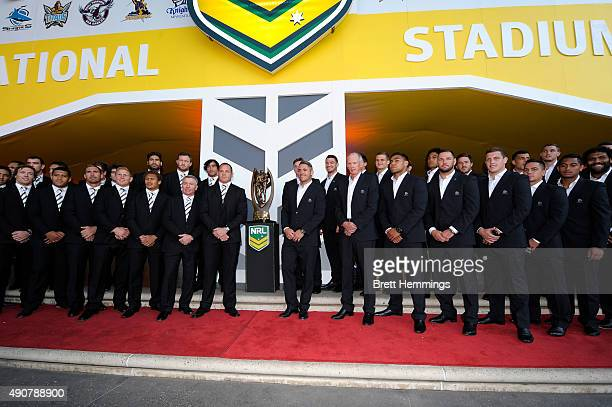 Players from the Cowboys and the Broncos pose for a photo with the ProvansSummons Trophy during the launch of NRL Nation at Darling Harbour on...