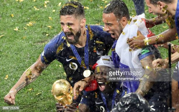 Players from the France team celebrate their victory during the 2018 FIFA World Cup Russia Final between France and Croatia at Luzhniki Stadium on...