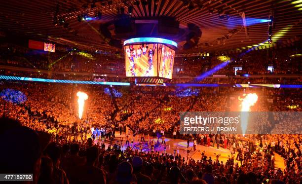 Players from the Golden State Warriors and Cleveland Cavaliers are introduced prior to the start of Game 5 of the 2015 NBA Finals on June 14 2015 at...