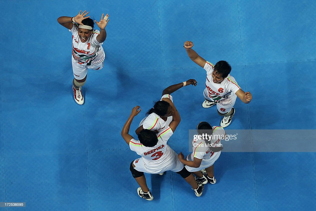 Players from the Independent Olympic Athletes celebrate winning the gold medal against Iran during the Women's Kabaddi Gold Medal match at Ansan Sangnoksu Gym on day five of the 4th Asian Indoor & Martial Arts Games on July 3, 2013 in Incheon, South Korea.