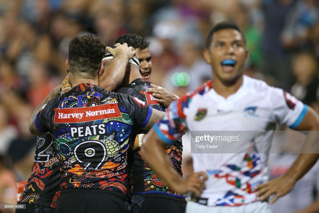 Players from the indigenous All Stars celebrate a try during the NRL All Stars match between the 2017 Harvey Norman All Stars and the NRL World All Stars at McDonald Jones Stadium on February 10, 2017 in Newcastle, Australia.