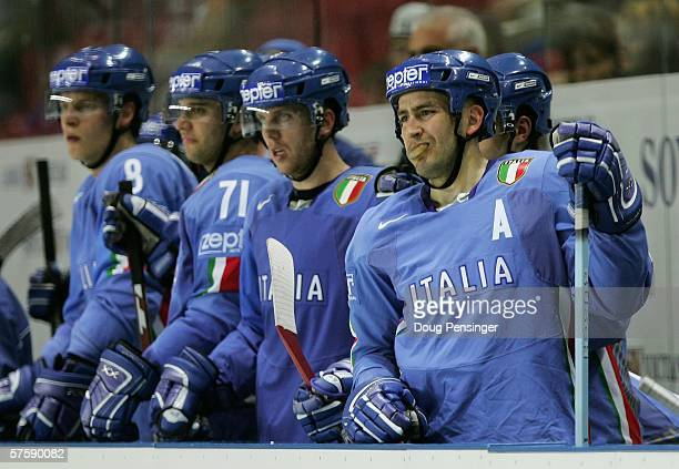 Players from the Italian bench look on anxiously during the IIHF World Championship relegation game between Italy and Kazakhstan at Skonto Arena on...