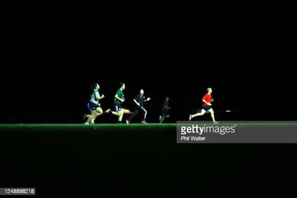 Players from the Manurewa Womens rugby team train under lights at the Manurewa Rugby Club on June 11, 2020 in Auckland, New Zealand. Community sport...