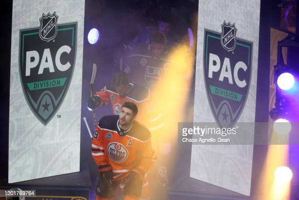 Players from the Pacific Division take the ice prior to the 2020 NHL AllStar Skills competition at Enterprise Center on January 24 2020 in St Louis...