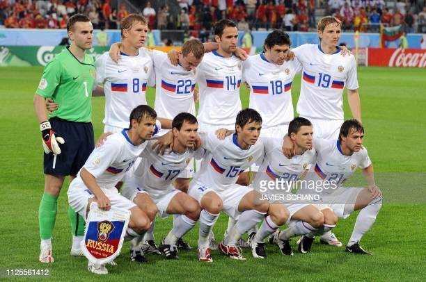 Players from the Russian national football team Russian goalkeeper Igor Akinfeev Russian defender Denis Kolodin Russian defender Alexander Anyukov...