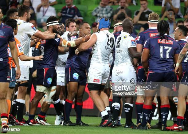Players from the Sharks and Rebels confront each other during the Super Rugby union match between the Melbourne Rebels of Australia and the Coastal...