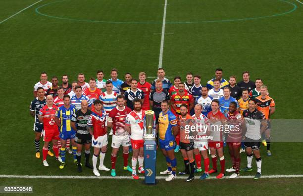 Players from the Super League Kingstone Press Championship and Kingstone Press League 1 pose with the Super League Trophy during the Rugby League...