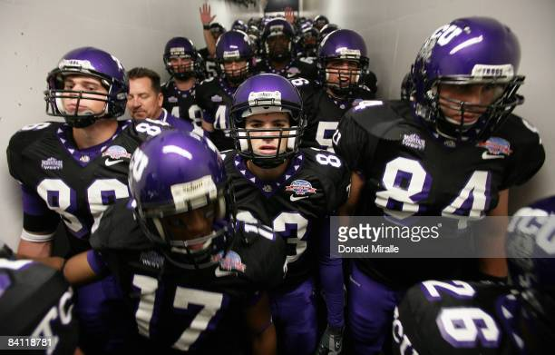Players from the TCU Horned Frogs prepare to enter the stadium against the Boise State Broncos during the San Diego County Credit Union Poinsettia...