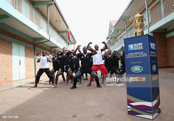 Players from the TFMA Club perform their haka during a visit to Antongona during the Rugby World Cup Trophy Tour in Madagascar in partnership with...