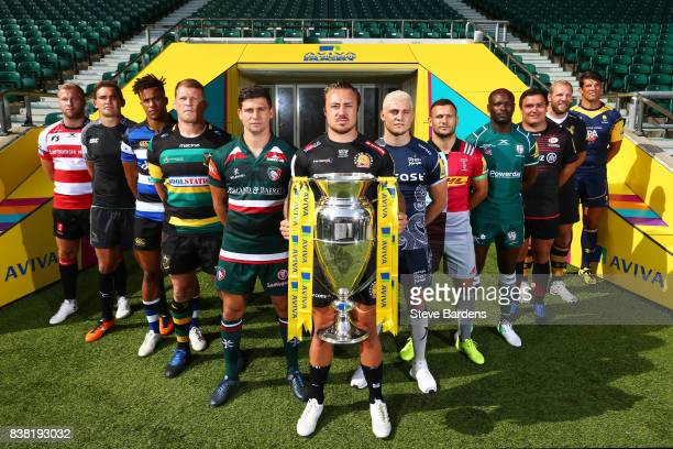Players from the twelve Aviva Premiership clubs pose during the Aviva Premiership 2017/18 Launch at Twickenham Stadium on August 24 2017 in London...
