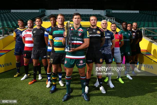 Players from the twelve Aviva Premiership clubs pose with the Anglo Welsh Trophy during the Aviva Premiership 2017/18 Launch at Twickenham Stadium on...