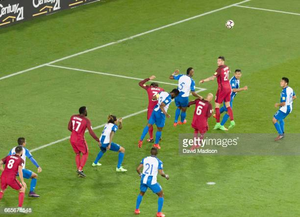 Players from the USA and Honduras contest a corner kick by the USA during the FIFA 2018 World Cup Qualifier match between the United States and...